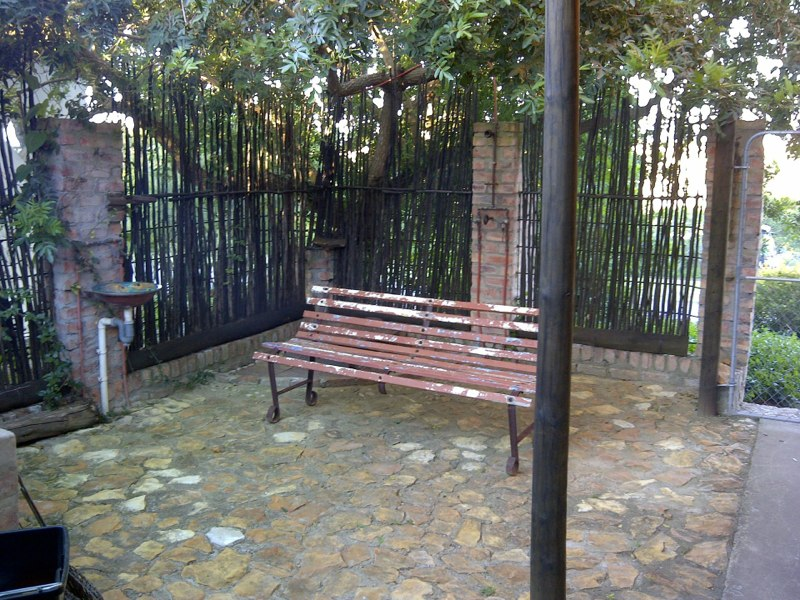 Shady seating at the barbeque area