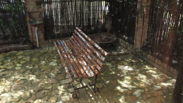 Barbeque area seating under tree