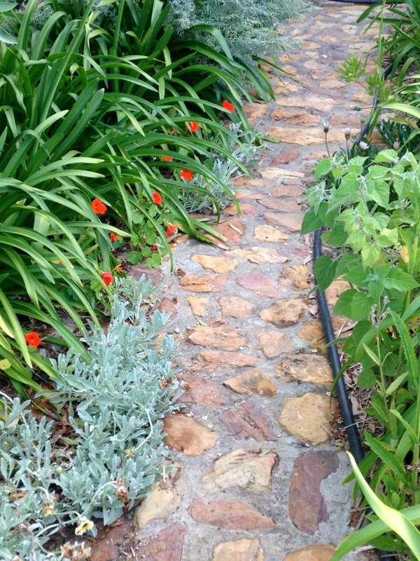Cobblestone pathway from the house to the deck