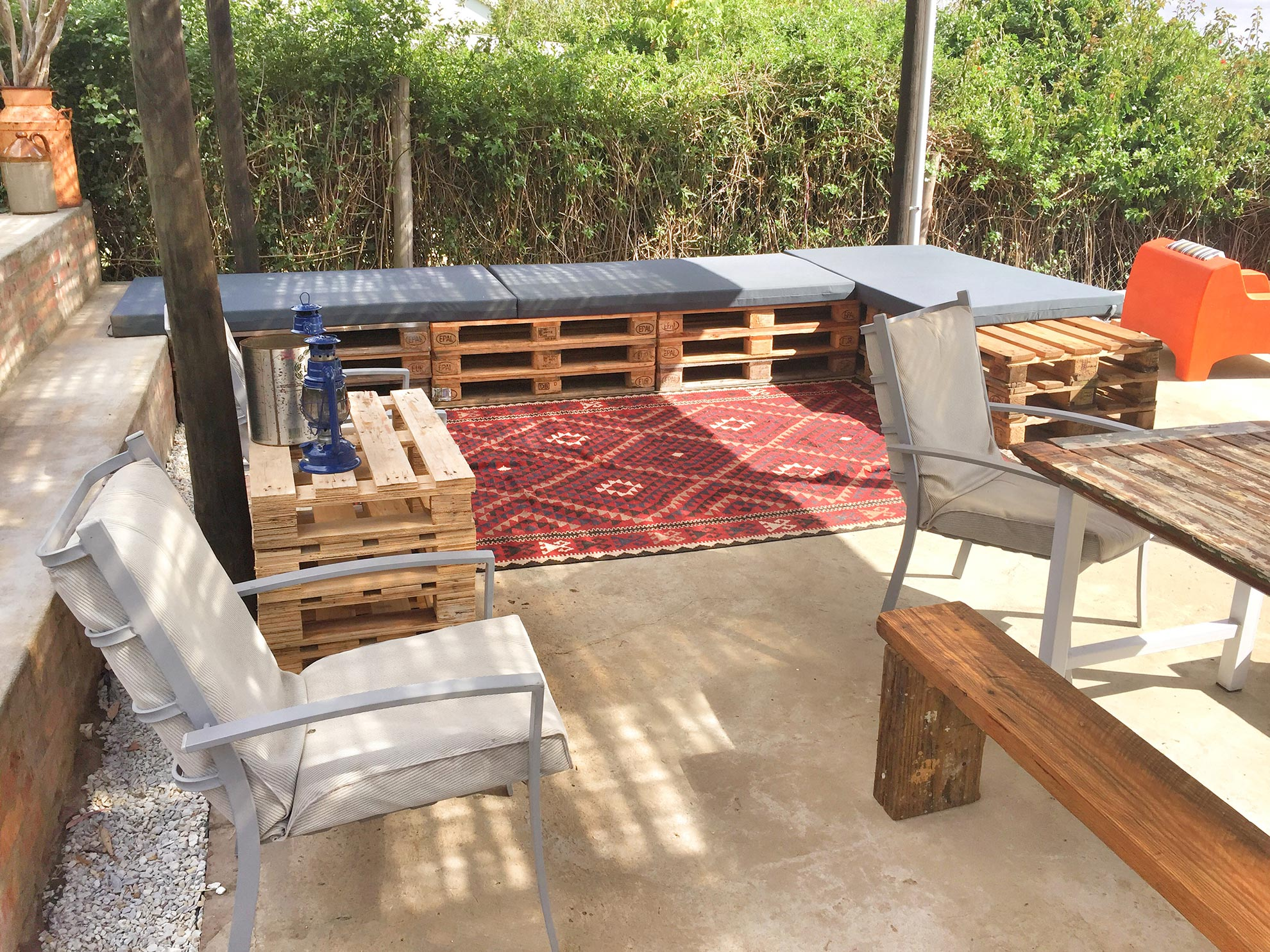 The deck area offers ample seating